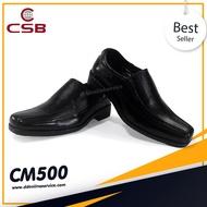 รองเท้าทรงหัวครอบยาว รองเท้ามีส้น รองเท้าหนังสีดำ รองเท้าคัชชูแบบสวมผู้ชาย รองเท้าทำงาน รองเท้าทางการ ใส่สบาย เรียบหรู สุภาพ CSB CM500