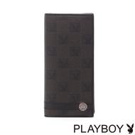 【PLAYBOY】Checkerboard Rabbit 紳士棋盤兔系列 翻蓋式長夾(經典黑)