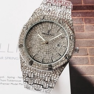 AUDEMARS PIGUET 愛彼 AP 手錶 石英錶 滿鑽錶盤 男士商務腕錶 休閒時尚男錶