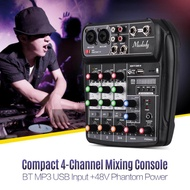 Sunshine Girl-Muslady AI-4 Compact Mixing Console Digital Audio Mixer 4-Channel BT MP3 USB Input +48V Phantom Power for Music Recording DJ Network Live Broadcast Karaoke