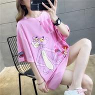 粉紅色頑皮豹大版t恤女夏短袖寬松中長款下衣失蹤ins潮學生上衣服