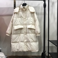 羽絨外套白鴨絨夾克-連帽寬鬆過膝長版女外套5色73zb5【獨家進口】【米蘭精品】