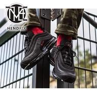 [Asli] NIKE AIR MAX 97 LOGO Kulit Hitam Merah 3M Reflektif Hook Air Cushion Jogging Kasut Lelaki dan Wanita AR4259-001