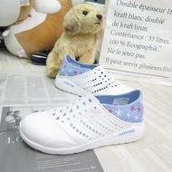 LOTTO 粉點洞洞鞋 女款 中大童 整數碼 輕量 輕便鞋 LT1AWS3686 白/水藍【iSport愛運動】