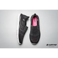 金英鞋坊~義大利第一品牌-LOTTO樂得 女款EASYWEAR套入式飛織輕走鞋 [5900黑 特賣590元