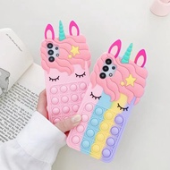 Relive Stress Rainbow Unicorn Phone Cases For Samsung Galaxy A01 A10E A11 A12 A20 A30 A21 A32 5G A31 A51 A71 S21 S21 Plus S21 Ultra Pop Fidget Toys Push It Bubble Soft Silicone Casing Cover hp