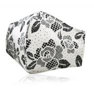 3D款可重複使用成人透氣純棉進口布口罩套(蕾絲玫瑰)