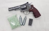 """ปืนบีบีกันลูกโม่ Wingun 701 """" 4 นิ้ว Co2 สีเงินแถมฟรีCo2+ลูกเซรามิค1000นัดและลูกชนิดเหล็ก"""