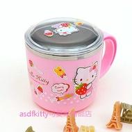 asdfkitty可愛家☆KITTY抱草莓粉紅色有蓋防燙304不鏽鋼杯-馬克杯/漱口杯/兒童學習杯-有防滑-韓國製