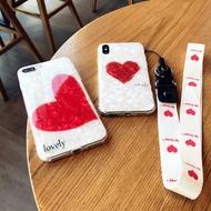 手機殼簡約白色貝殼愛心蘋果x手機殼iPhone7plus/8/6s保護套女款帶掛繩