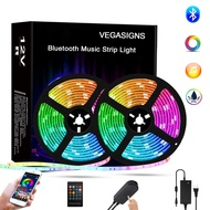 Bluetooth LED Strip Lights Music Sync 32.8Ft/10M, VEGASIGNS RGB Strip Lights Color Changing Tape Lights SMD 5050 with Smart Phone APP Control for Bedroom TV Bar Party and Home Decoration