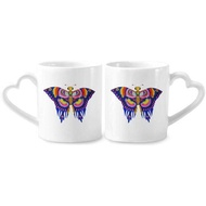 Traditional Chinese Kite Butterfly Pattern Couple Mugs Ceramic Lover Cups Heart Handle 12oz Gift - intl