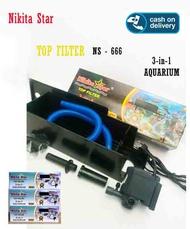Paket Top Filter Aquarium Box Filter Nikita Star NS 666. Untuk Aquarium 40-60cm.