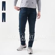 顯瘦中直筒牛仔褲 丹寧 貼鑽口袋牛仔長褲 中腰牛仔褲 刷白牛仔褲 彈性牛仔褲 貓爪牛仔褲 直筒褲 單寧 車繡後口袋 Regular Fit Jeans Mid-rise jeans Denim Pants (010-3692-34)深牛仔 M L XL 2L 3L (腰圍28~37英吋) 女 [實體店面保障] sun-e