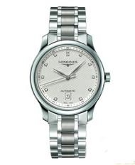 LONGINES 浪琴錶 L26284776巨擘經典優雅真鑽機械腕錶/白網紋面38.5mm