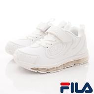 ★FILA斐樂頂級童鞋-氣墊機能運動鞋款-3-J814U-111白(中大童段)