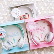 MINA✨卡通頭戴式耳麥耳機 手機音樂語言通話耳機 大白 hello kitty 哆啦A夢 通用耳機
