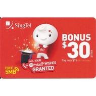Singtel Prepaid E-Top Up Bonus $30