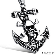 【7413A】【送禮盒】骷髏船錨項鍊 龐克項鍊 鈦鋼項鍊鋼墜子鋼鍊情侶項鍊對鍊 惡南宅急店