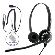 RJ9 Headset - Deluxe Pro Binaural Headset + 8 Selection Switches RJ9 Headset Adapter for ANY phones jack - intl