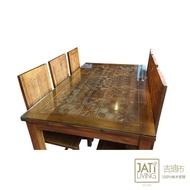 【吉迪市柚木家具】柚木雕花餐桌椅組