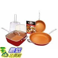 [8美國直購] 陶瓷鍋鈦合金不沾鍋 Gotham Steel 1738 Tastic Bundle 7 Piece Cookware Set Titanium Ceramic Pan Red