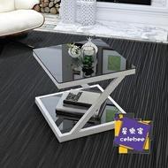 茶几 陽台小茶几簡約現代鋼化玻璃家用角几小戶型沙發邊几簡易迷你方桌T