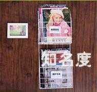 雜誌架/書架 鐵藝壁掛書架雜志架牆壁報刊架書報架報紙架 簡約客廳壁掛創意T 2色