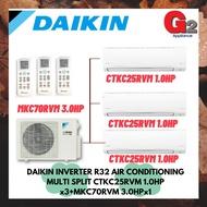 DAIKIN INVERTER R32 AIR CONDITIONING MULTI SPLIT CTKC25RVM 1.0HP x3+MKC70RVM 3.0HPx1 - DAIKIN WARRANTY MALAYSIA