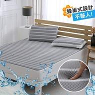 涼墊涼蓆 雙人+枕墊2入 水洗6D透氣循環床墊 可水洗 矽膠防滑[鴻宇]