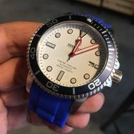 【錶帶家】20mm 或 22mm 代用浪琴 OMEGA DEEP BLUE 圓弧彎頭矽膠錶帶含不鏽鋼安全扣不含圖中的手錶