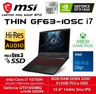 "MSI - GF63 Thin 10SC i7 ( i7-10750H/ 8GB RAM/ 512GB SSD/ GTX 1650/ 15.6"" 144Hz ) 手提電腦"