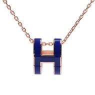 【Hermes 愛馬仕】經典Pop H立體簍空橢圓LOGO項鍊(玫瑰金X皇家藍 H147991F-ROYAL BLUE-ROSE)