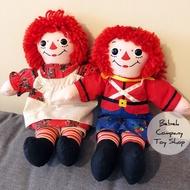 一對 1997年 聖誕節 12吋/30cm raggedy Ann & Andy 古董 絕版玩具 布偶 安娜貝爾 娃娃