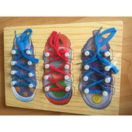 72HOUSE~穿鞋器教具。繋鞋帶拼板。木製 穿鞋帶練習