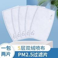 口罩過濾片 PM2.5 防塵防霧霾 5層過濾2層熔噴布口罩墊片2片/包