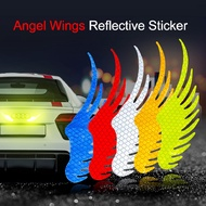 Safety Warning Reflective Car Sticker Angel Wings Reflective Warning Sign Decal Sticker Motorcycle Reflective Sticker 2Pcs