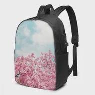 วัยรุ่นกระเป๋าเป้สะพายหลังสำหรับโรงเรียนเด็กสาวฤดูใบไม้ผลิCherry Blossom Sakura Over Blue Skyกระเป๋าUSBชาร์จกระ...