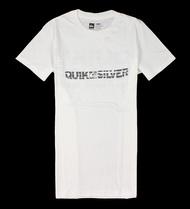 美國百分百【全新真品】Quiksilver T恤 短袖 上衣 T-shirt 白色 Logo 文字 純棉 經典 男 S號