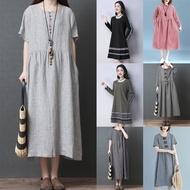 Midi Muslimah Dress Labuh Baju Plus Size Women Cotton Linen Long Sleeve Duyung Ladies Loose Dress