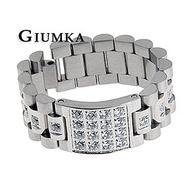 【GIUMKA】類勞力士錶帶白鋼戒指 方格滿鑽 單個價格