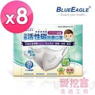 【愛挖寶】藍鷹牌NP-3DCS*8 台灣製兒童立體型防塵口罩 五層防護 活性碳款 灰 50入*8盒