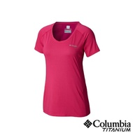 【Columbia 哥倫比亞】女款-鈦 涼感快排短袖上衣-桃紅色(UAR26500FC / 涼感.排汗.上衣)