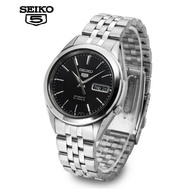SEIKO 5 Automatic Men's Watch รุ่น SNKL23K1 - สายแสตนเลสสีเงิน หน้าปัดสีดำ มั่นใจ ของแท้ 100%- ประกันศูนย์ไทย 1 ปี