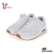 Skechers童鞋 男女童運動鞋 UNO 跑步鞋 慢跑鞋 氣墊鞋 魔鬼氈 皮面 記憶鞋墊 U8260白色
