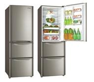 【台灣三洋小家電】380L三門變頻冰箱上冷藏下冷凍《SR-B380CVF》T鈦金色 省電4級