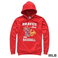 MLB-亞特蘭大勇士隊連帽鏡像印花長袖厚T恤-紅(男)