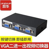 【熱賣 切換器分配線】晶華VGA切換器四進一出 二進一出分配共享器電視高清擴展四進一出