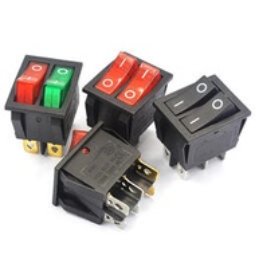 快速出貨 電子零件 雙聯船型開關 紅綠色帶燈2檔6腳 電源按鈕開關電餅鐺電暖器開關