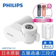 【Philips 飛利浦】超濾龍頭型4重plus 5層過濾 3段式 日本原裝淨水器 -濾芯共4入(AWP3754-1+3)